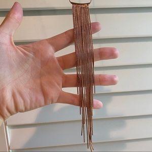 Rose Gold Fringe Long Necklace